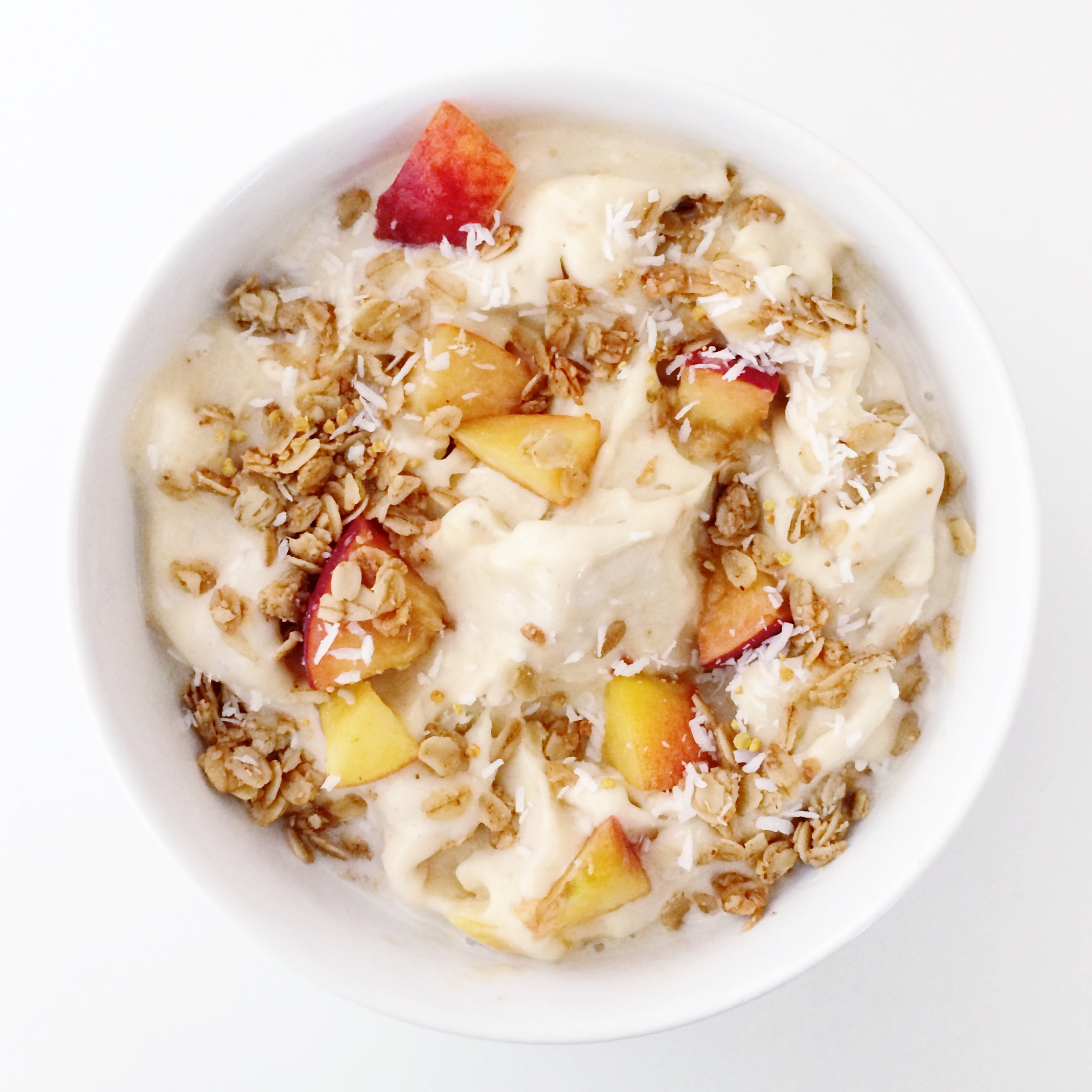 Peach ice cream with toasted granola clean food dirty city - Foods never wash cooking ...