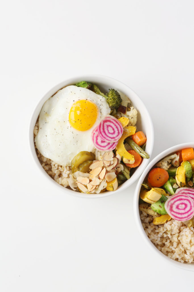 Market Bowl with Fried Egg and Almond-Tamari Sauce
